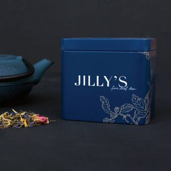 Jilly's Small Embossed Tin with tea