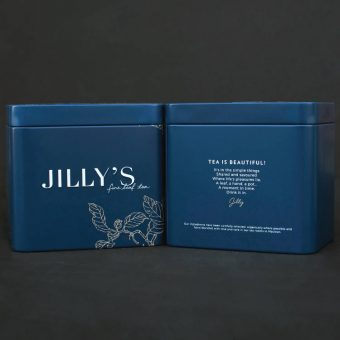Small Embossed Jilly's Tin front and back